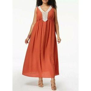 NY COLLECTION Crochet-Trim Maxi Dress